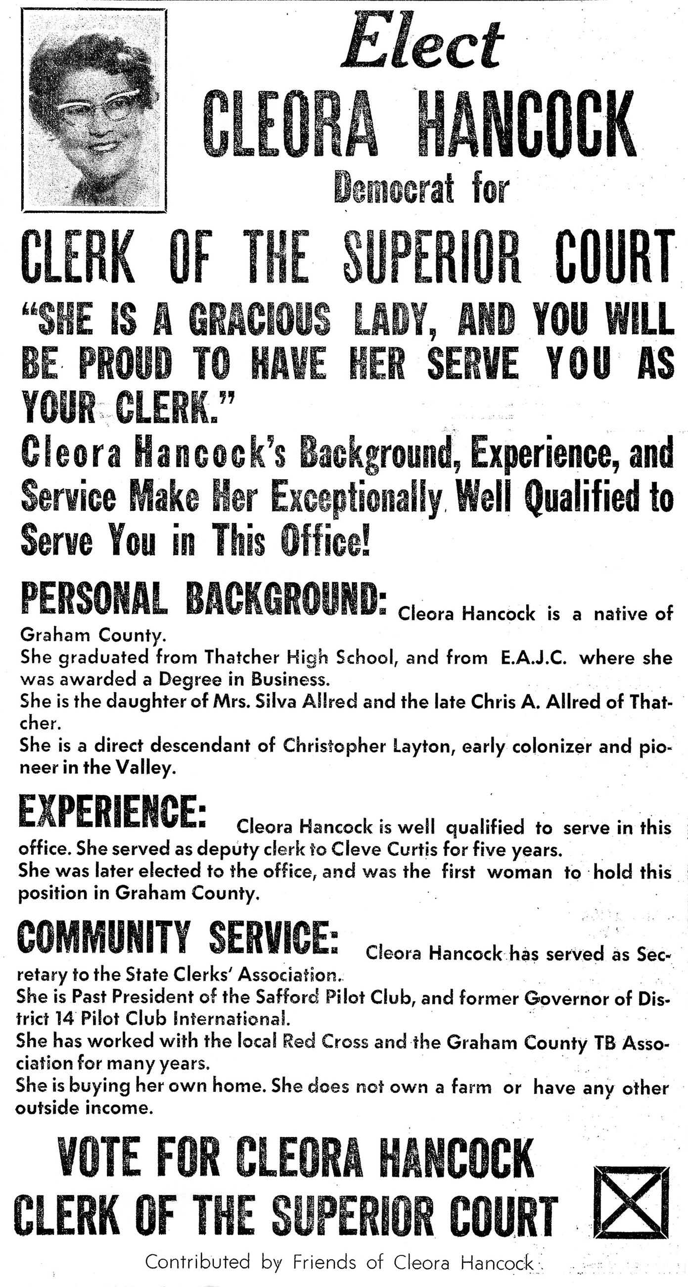 Cleora Allred Hancock Election Flyer