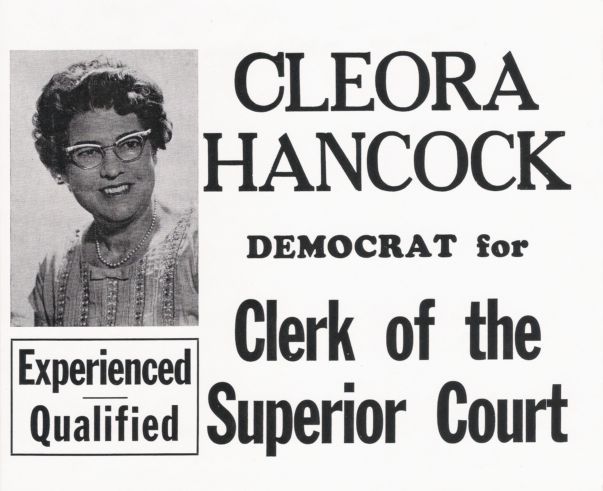 Cleora Allred Hancock Election Flyer 2