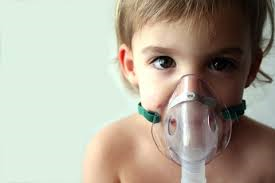 Child wearing air mask