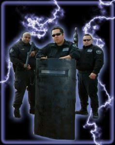 Three Officers Standing - Graphic Includes Lightning